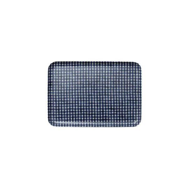 Fog Linen  Fog Linen Blue Plaid Linen Coating Tray 33 x 23 cm