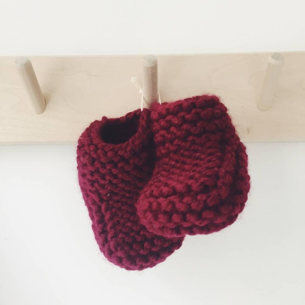 Pantoufle Handknit Bordeaux Woolen Baby House Shoes size 16-17