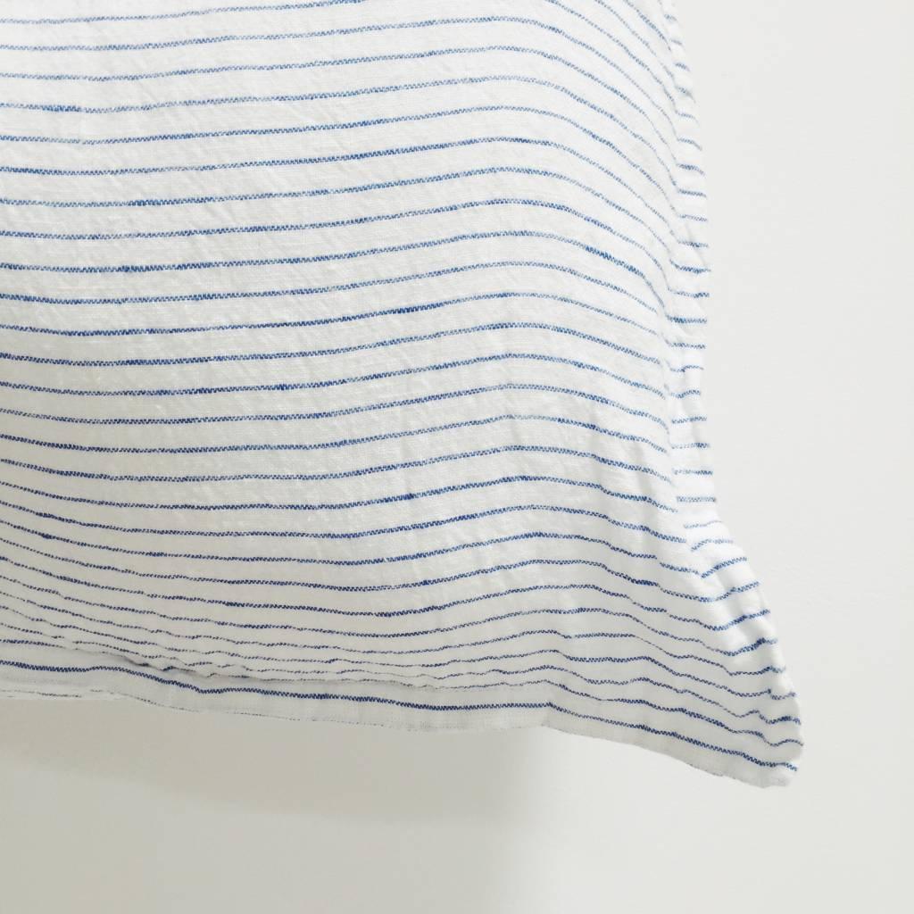 Linge Particulier  Linge Particulier Cushion Cover Atlantic Blue Stripe Washed Linen 40 x 60 cm