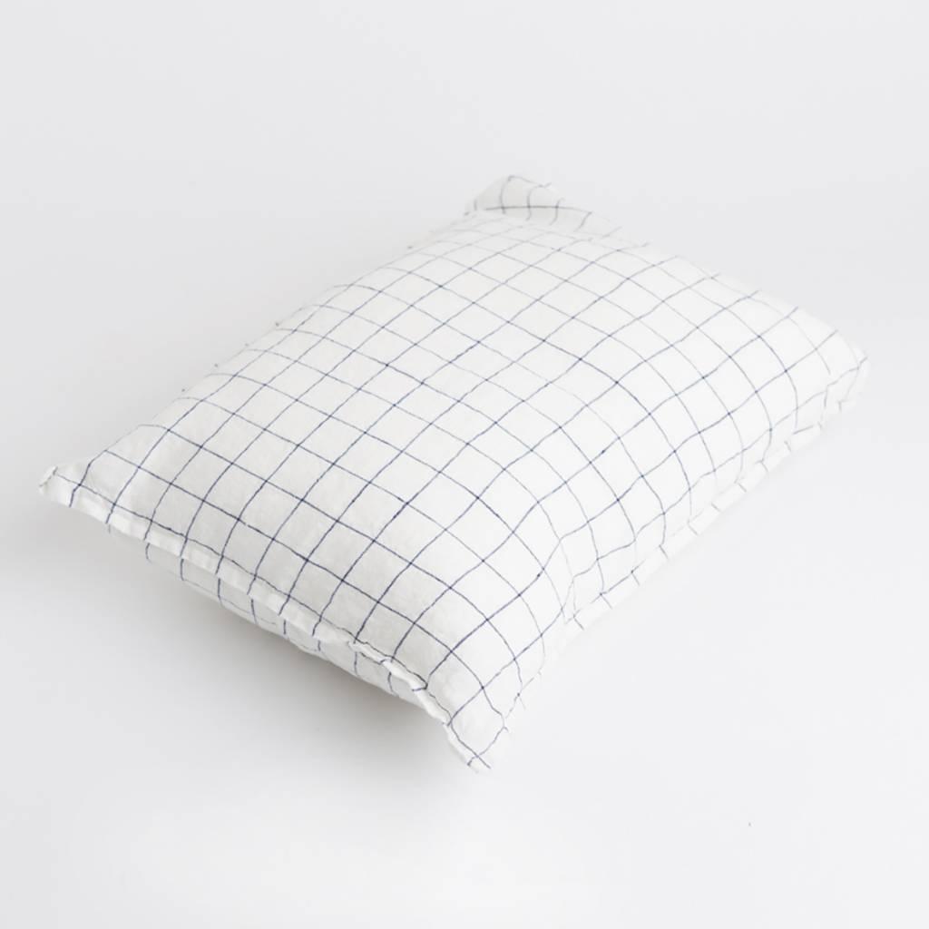 Linge Particulier  Linge Particulier Cushion Cover XL Navy & White Checks Washed Linen 40 x 60 cm