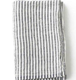 Fog Linen  Navy Stripe Thick Linen Blanket
