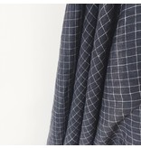 Black and White Checked Stonewashed Linen Fabric