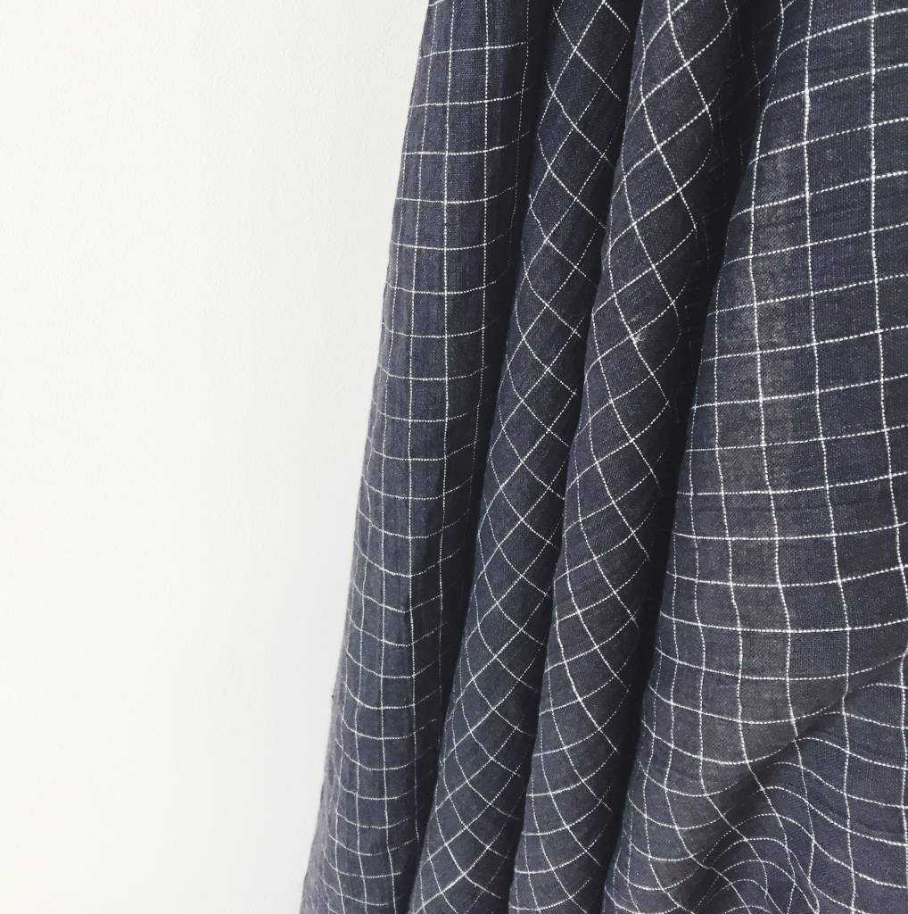 Stonewashed Black Check linen fabric