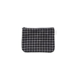 Fog Linen  Bonica Pouch Black Plaid