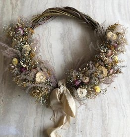 Raket & Distels Wreath of dried flowers with ribbon
