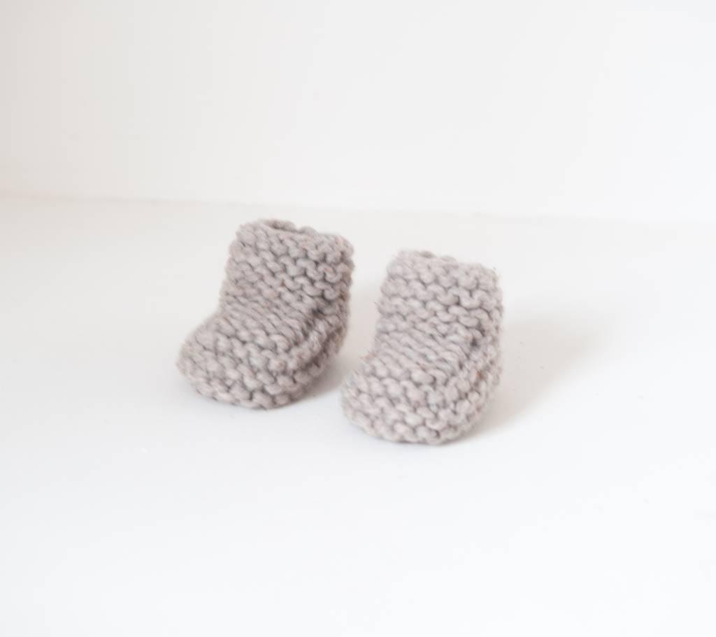 Pantoufle Handknit Greige Woolen Baby House Shoes size 10-15