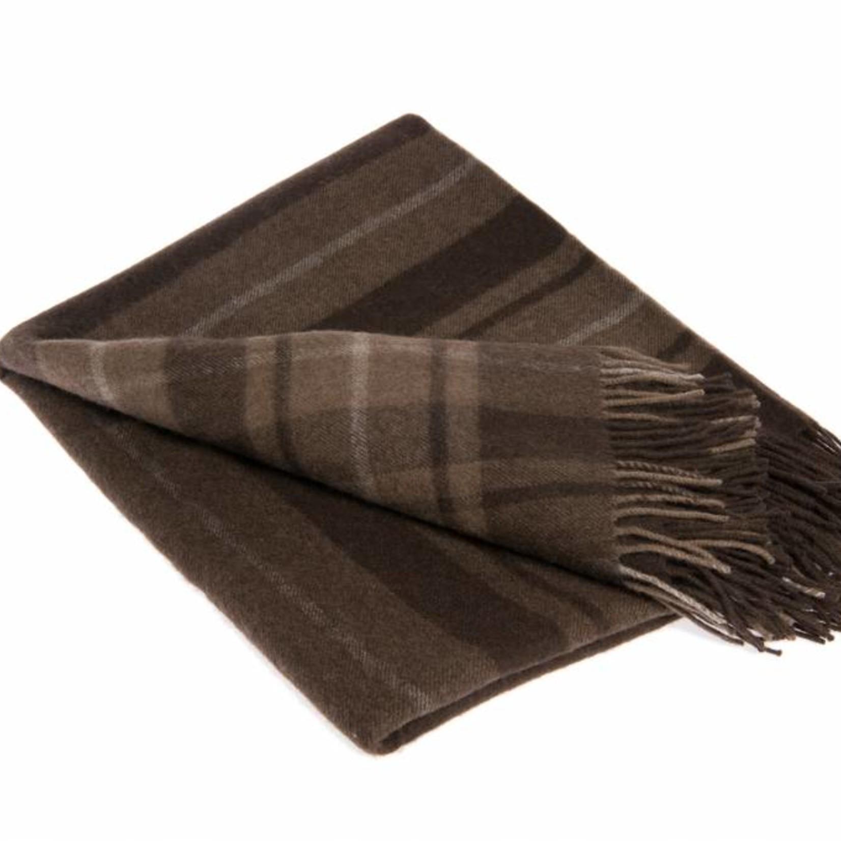 Mongoltextile - Decke aus Yakwolle - braun mit Streifen