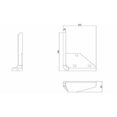 Stootblok staal links, verzinkt