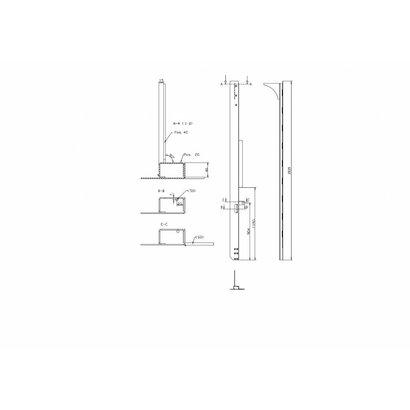 Achterstijl laadklep plywood 2670 mm links TOS