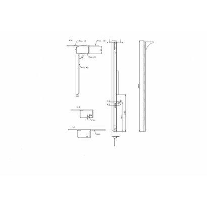 Achterstijl laadklep plywood 2670 mm rechts TOS