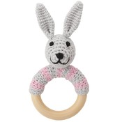 Sindibaba Rattle Bunny on wooden ring grey/pink
