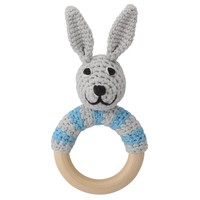 Sindibaba Rattle Bunny on wooden ring grey/blue