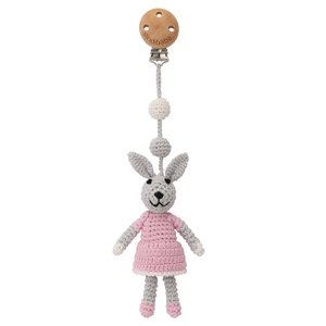 Sindibaba Kinderwagen-Clip mit Hase grey/pink