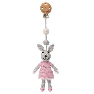 Sindibaba Kinderwagen-Clip mit Rasselt Hase grey/pink