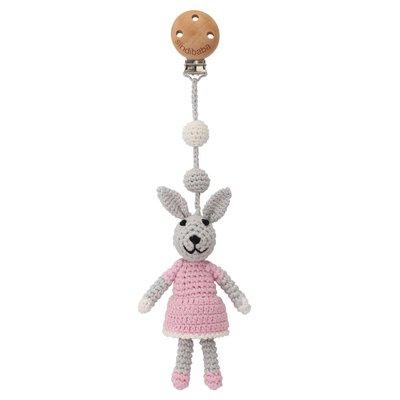 Sindibaba Kinderwagen-Clip mit Rassel Hase grey/pink