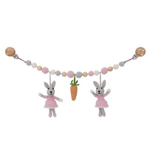 Sindibaba Kinderwagenkette Hase grau/rosa mit Rassel