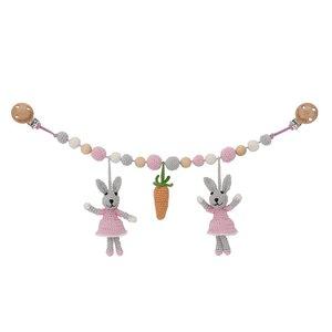 Sindibaba Pram mobile with bunny grey/pink