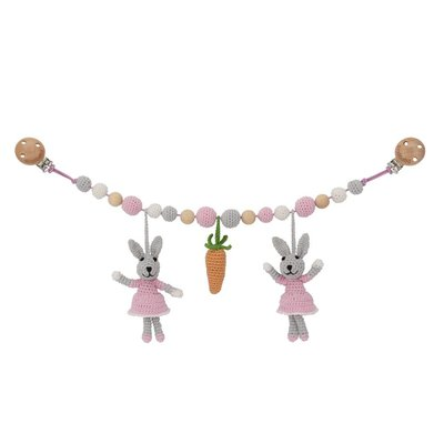 Sindibaba Stroller chain Bunny grey/rose with Rattle