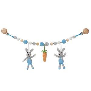 Sindibaba Kinderwagenkette Hase grau/blau mit Rassel