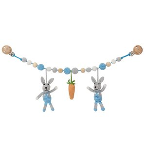 Sindibaba Stroller chain Bunny grey/blue with rattle