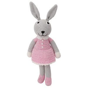 Sindibaba Bunny Bibi with rattle grey/pink