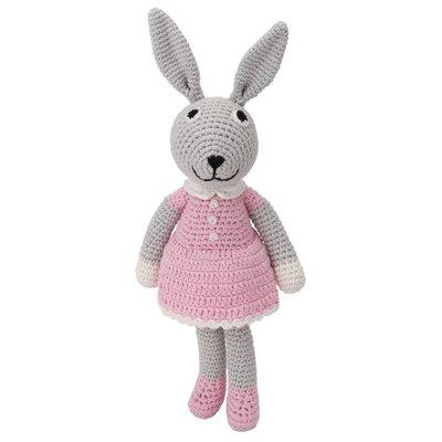 Sindibaba Bunny Bibi with rattle grey/pink