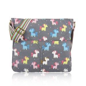 Huiskamergeluk Handbag Cross-over Canvas Unicorn grey