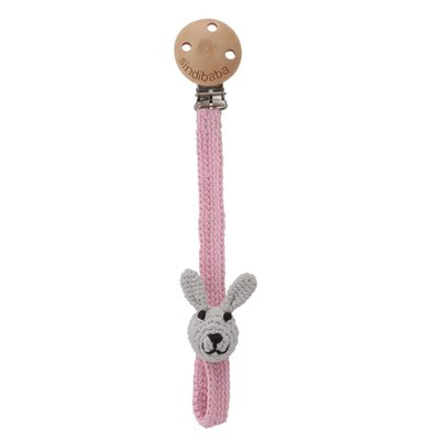 Sindibaba Pacifier chain with rabbit pink / gray
