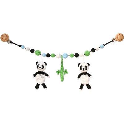 Sindibaba Kinderwagenkette Panda weiß/schwarz mit Rassel
