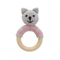 Sindibaba Rattle Cat Kitty on wooden ring