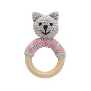 Sindibaba Rattle Cat Kitty on wooden ring
