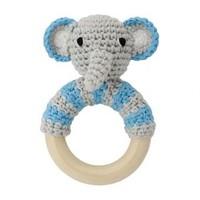 Sindibaba Rattle Elephant grey/blue on wooden ring
