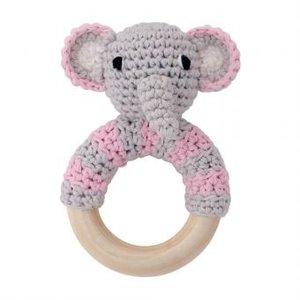 Sindibaba Rattle Elephant grey/pink on wooden ring