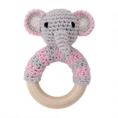 Sindibaba Rassel Elephant grey/pink am Holzring
