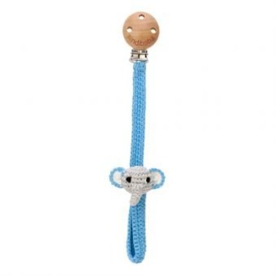 Sindibaba Pacifier clip with Elephant grey/blue
