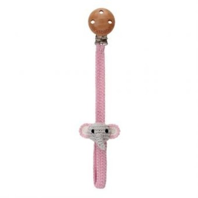 Sindibaba Pacifier clip with Elephant grey/rose