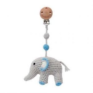 Sindibaba Pram clip with Elephant grey/blue