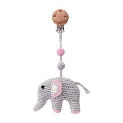 Sindibaba Kinderwagen-Clip mit Rassel Elephant grey/rose