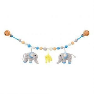 Sindibaba Stroller chain Elephant blue/grey with rattle