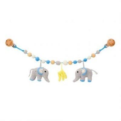 Sindibaba Kinderwagenkette Elefant blau/grau mit Rassel