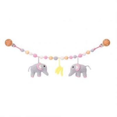 Sindibaba Kinderwagenkette Elefant grau/rosa mit Rassel