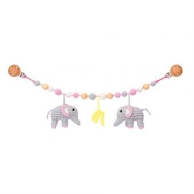 Sindibaba Stroller chain Elephant grey/rose with rattle