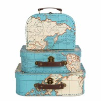 Sass & Belle Cases Vintage Map Set of 3