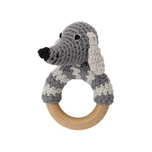 Sindibaba Rattle Dog lucky on wooden ring grey