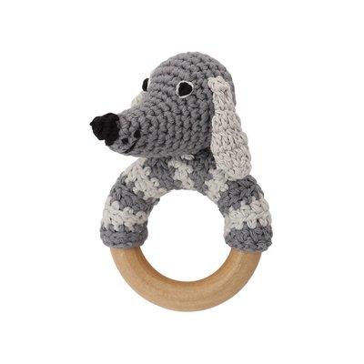 Sindibaba Rassel Hund Lucky am Holzring grau
