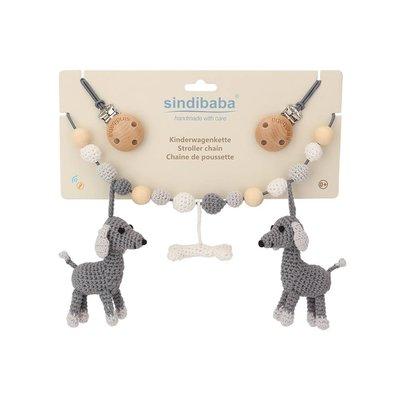 Sindibaba Kinderwagenkette Hund Lucky grau mit Rassel