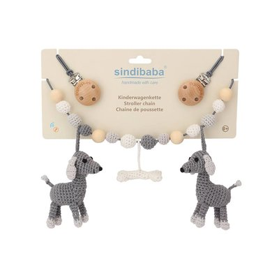 Sindibaba Stroller chain Dog Lucky grey with rattle