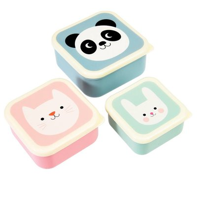 Rex London Snack Boxes set of 3 Panda,Cat Rabbit