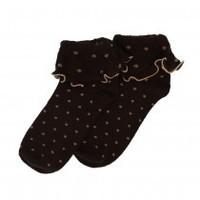 Forever England Socks Ruffle Top Spots chocolate