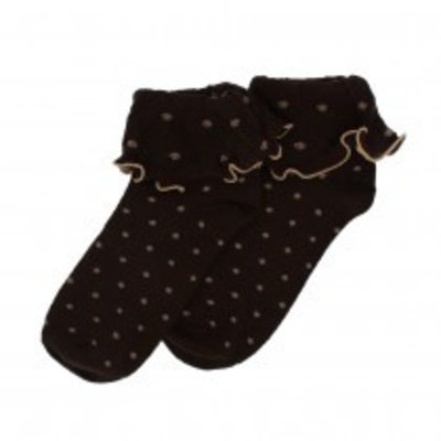 SALE Socken Ruffle Top Spots chocolate